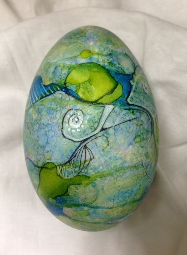 alcohol ink goose egg - mixed media: alcohol inks,black sharpie pen and white paint pen. by lynne