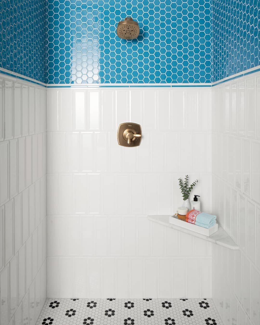 Something Bright Blue Shiny And New Bathroom Wall Tile Design Bathroom Decor Colors Small Bathroom Layout
