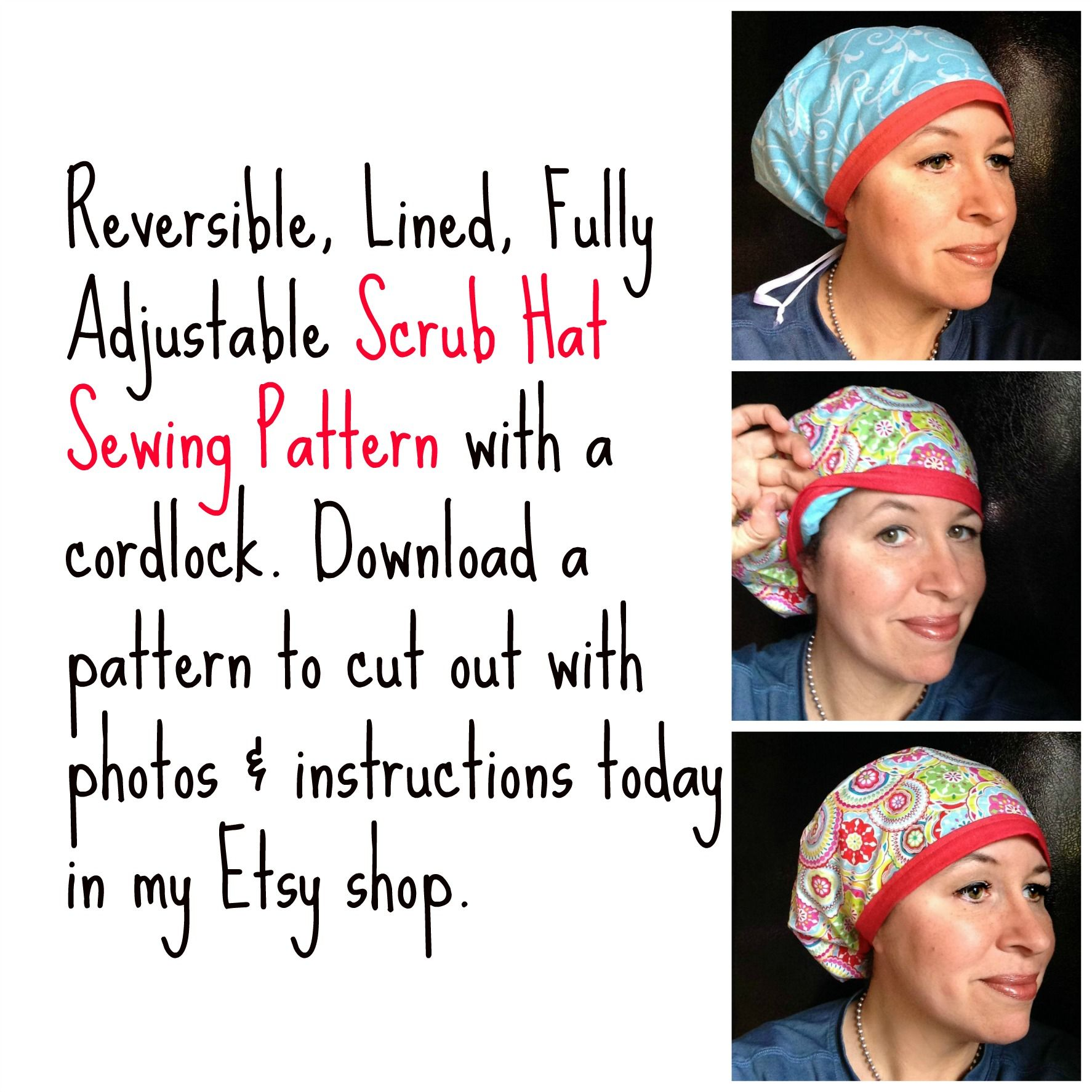 Scrub Hat Sewing Pattern Tutorial Diy Reversible Fully Lined