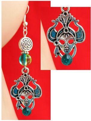 Silver & Green Celtic Knot Goddess Dangle Earrings