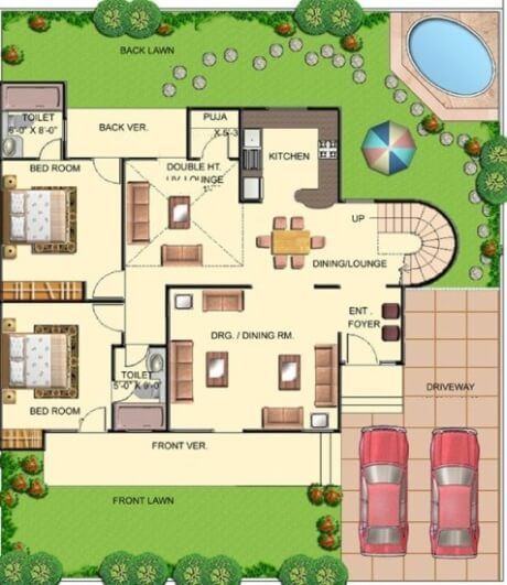 Bungalow house plans bungalow map design floor plan for Plan of bungalow in india