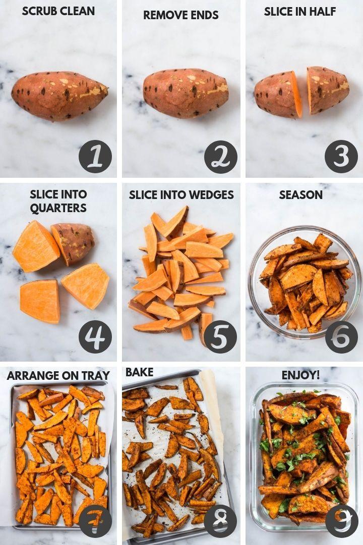 Sweet Potato Meal Prep - Baked Sweet Potato Fries 4 Ways