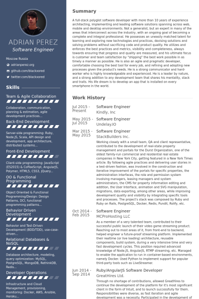 Quality Engineer Resume Software Engineer  Sample Resume Software And Template