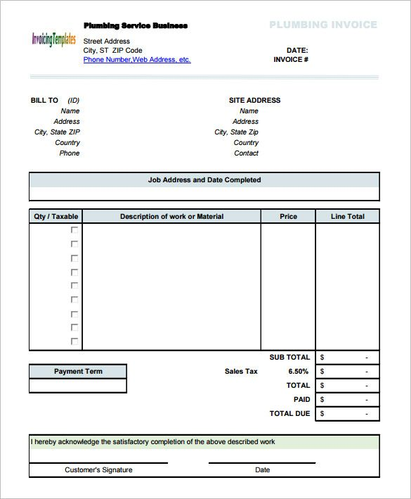 Plumbing Service Invoice Template With Sales Tax  Invoice
