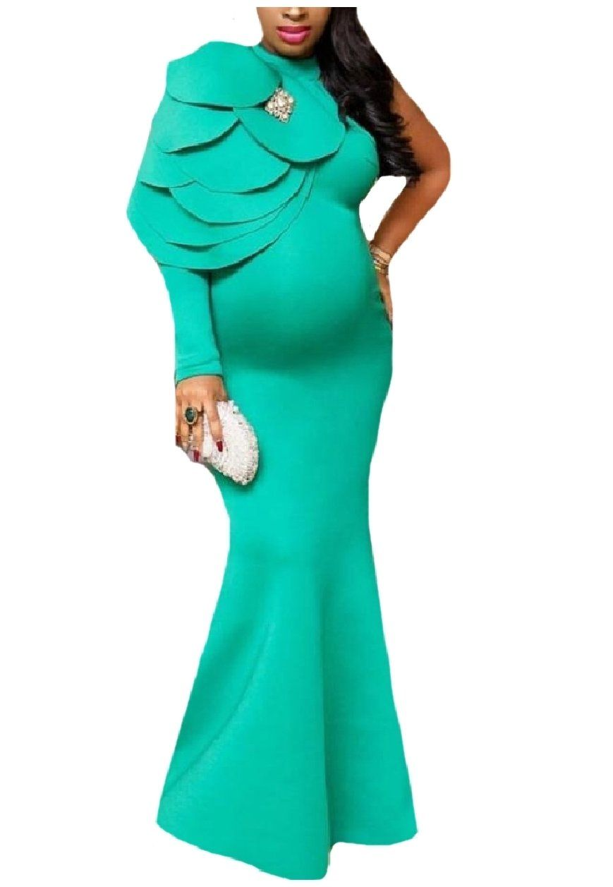ed552cf6408 Maternity Dresses - ZimaesWomen Maternity Mermaid One Shoulder Ruffle Full  Length Dress Light Green S   Information can be found by clicking the  picture.