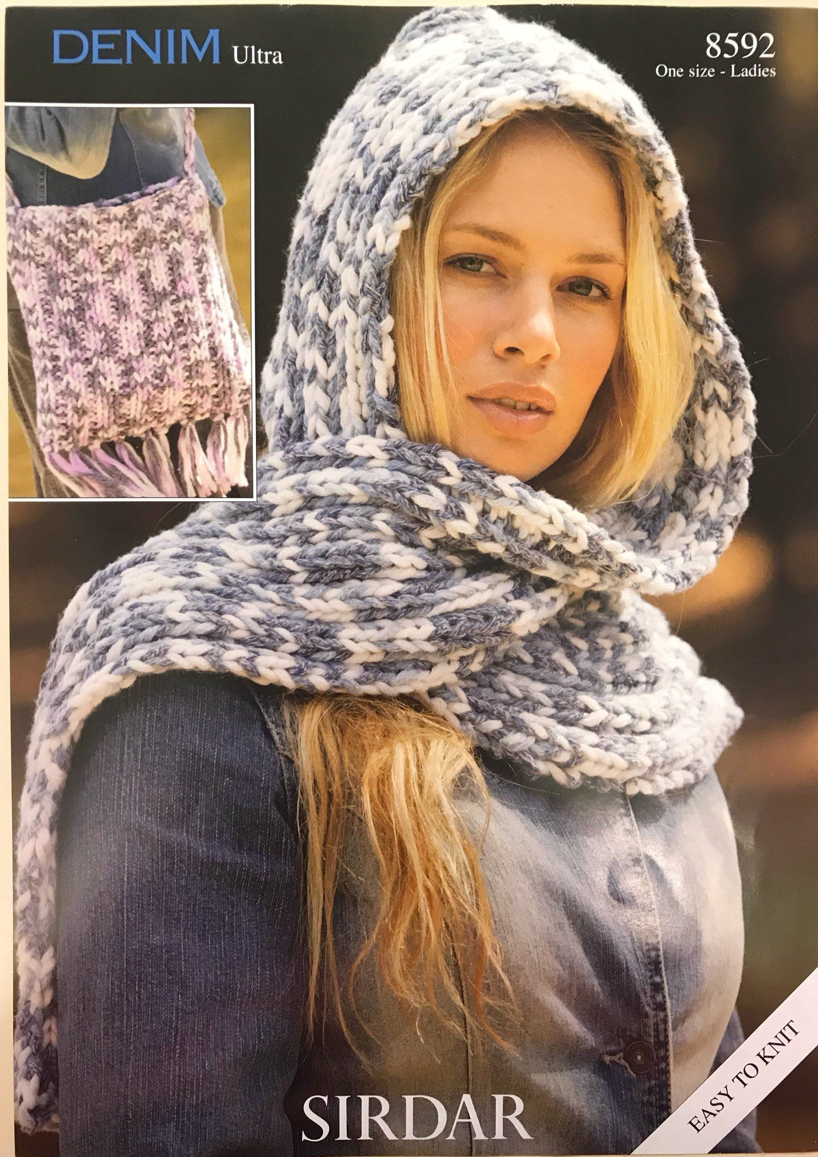 Easy Knit Super Chunky Pattern Hooded Scarf And Bag Easy And Quick