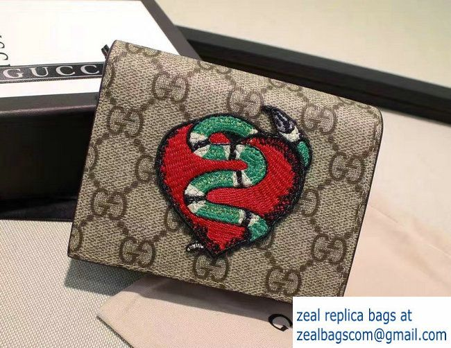 835cb226a49 Gucci Embroidered Heart And Snake Limited Edition Card Case 456867 2016