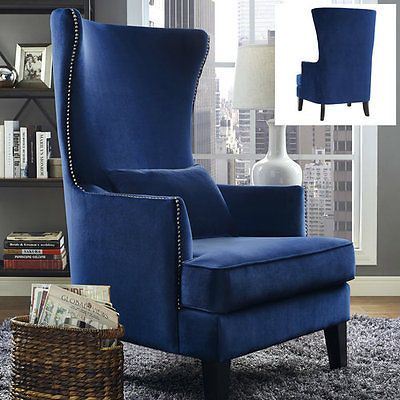 Upholstered Wingback Chair Velvet Blue Armchair Accent Wing High Back Tall Room Blue Accent Chairs High Back Accent Chairs Wingback Chair