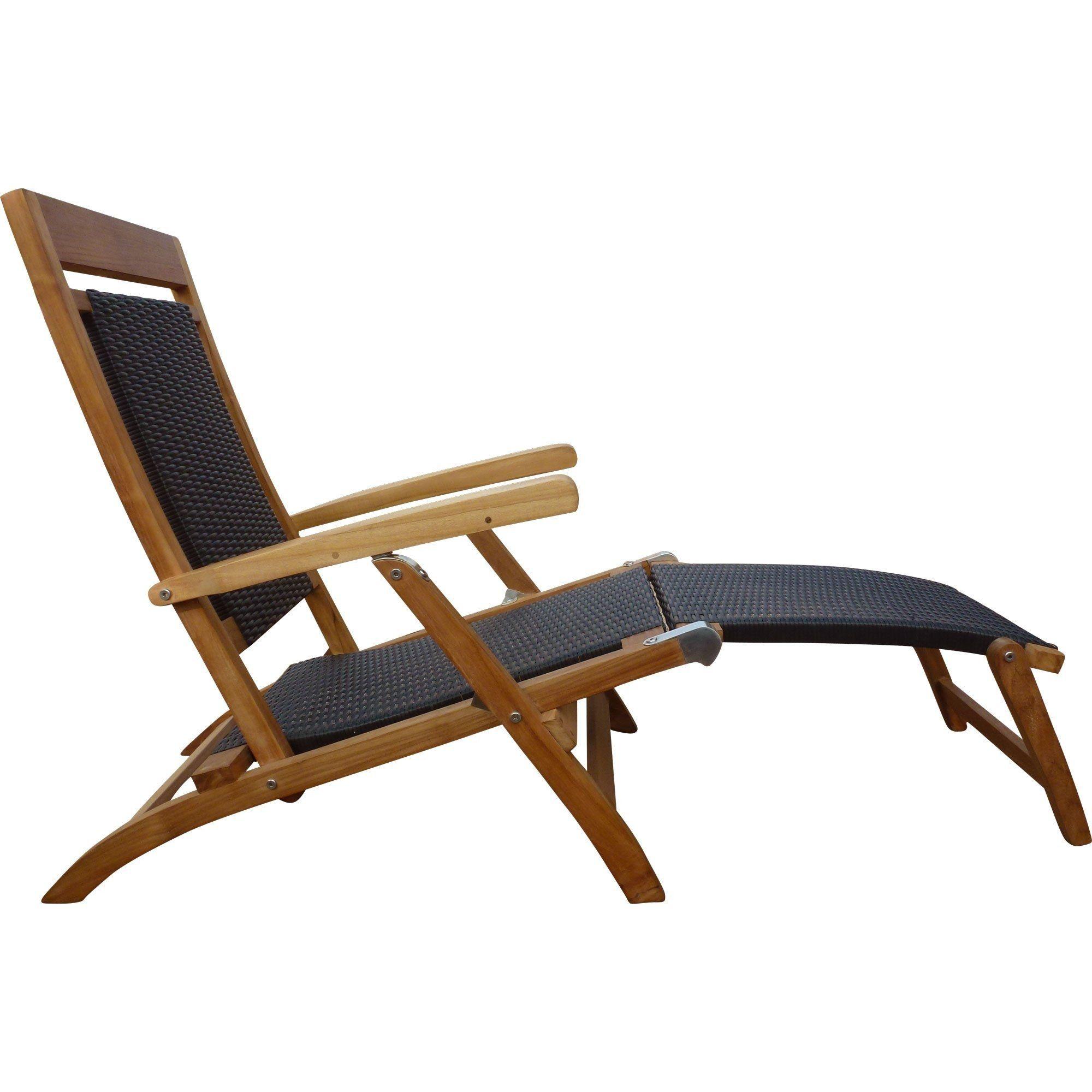 Teak Wood Narmada Outdoor Reclining Patio Steamer Chair Black Teak Chaise Lounge Chaise Lounge Patio Lounge