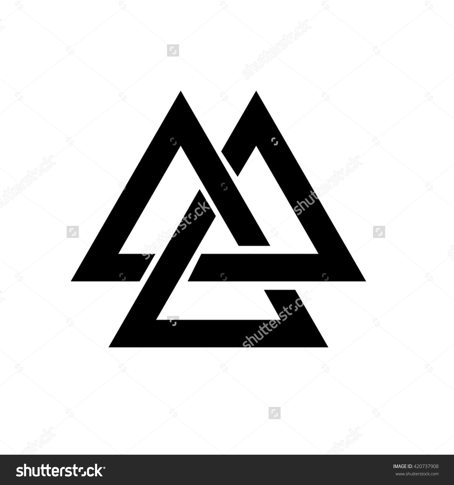 triangle logo valknut is a viking age symbol which