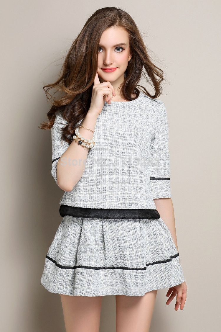 elegant woolen women 2 piece sets ladies fashion casual two piece tops and  skirt clothing set 369258e9c