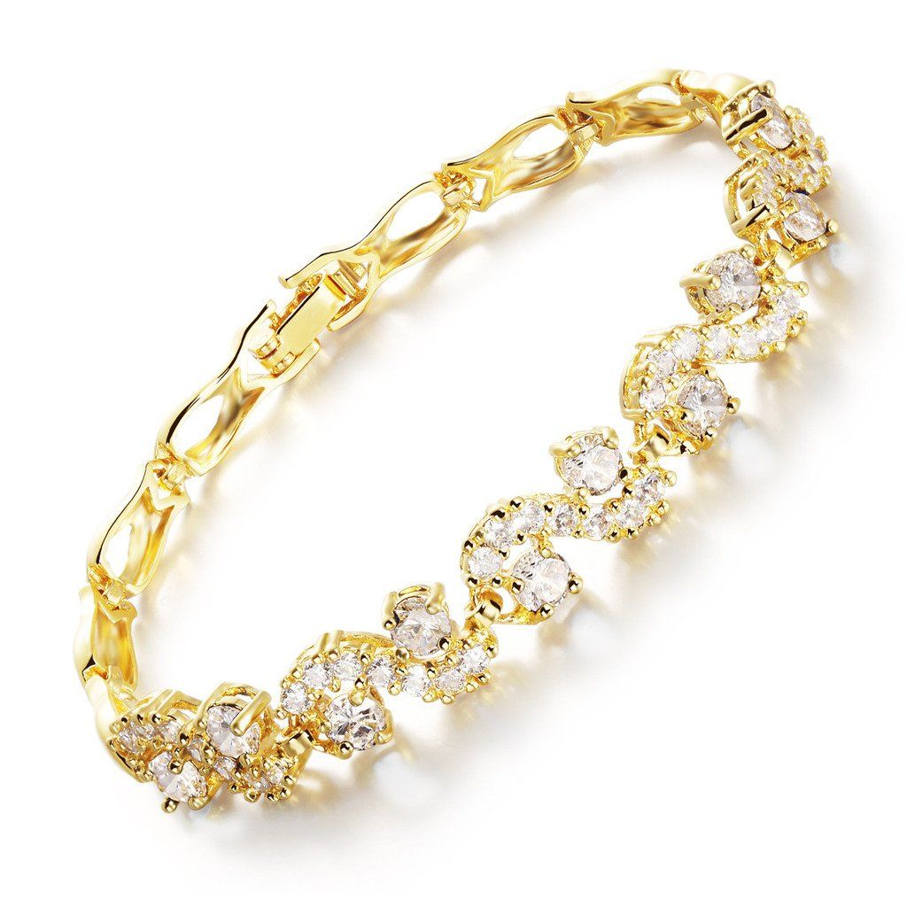 Iblue jewelry yellow gold plated cubic zirconia stone tennis