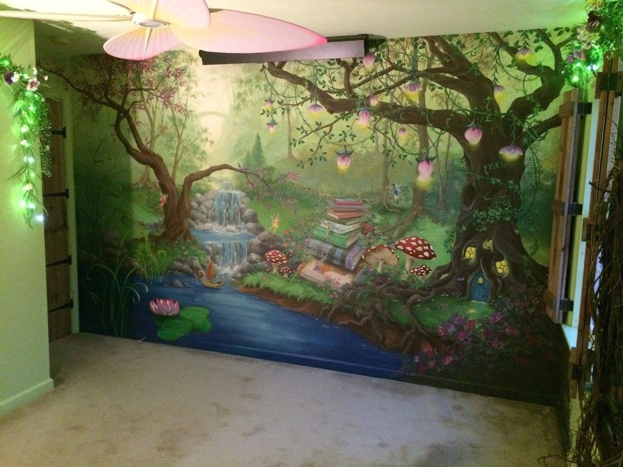 Enchanted forest bedroom mural during the day for Enchanted forest mural wallpaper