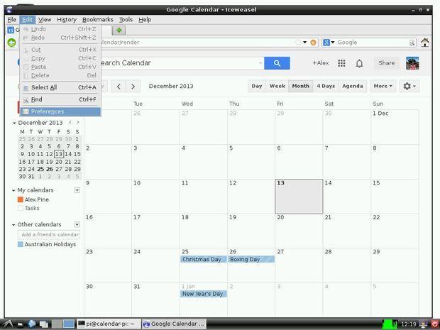 raspberry pi wall mounted google calendar electronics
