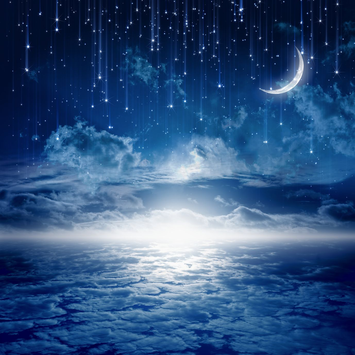 Peaceful Background Blue Night Sky With Moon Stars Beautiful Clouds Glowing Horizon