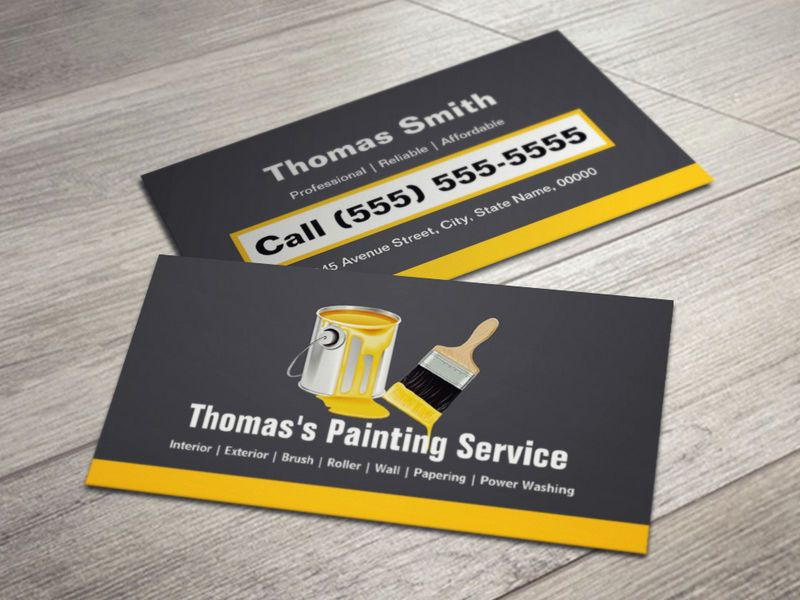 Professional Painting Service Painter Paint Brush Business Card Painter Business Card Painting Services Unique Business Cards Design