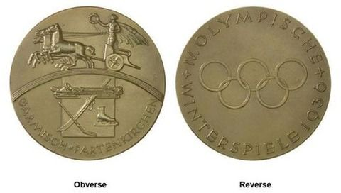 Olympic medals 1936 Garmisch-Partenkirchen