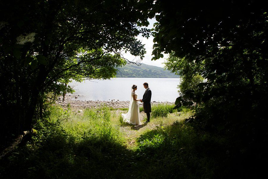 At Loch Tay, Perthshire wedding. Blue sky photography