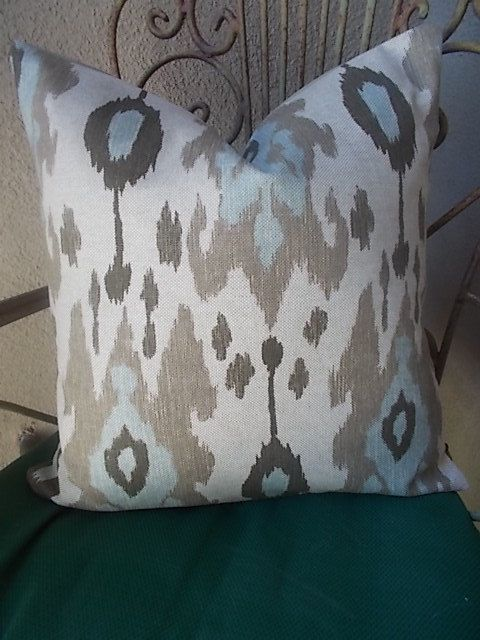 Ballard Designs Ikat Pillow Cover Spa Blue Brown By Sierradecor