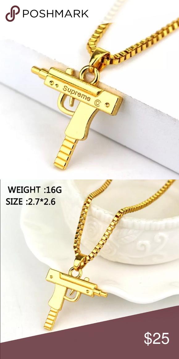 2x golden supreme uzi machine gun pendant necklace set of 2 long 2x golden supreme uzi machine gun pendant necklace set of 2 long alloy supreme machine mozeypictures Images