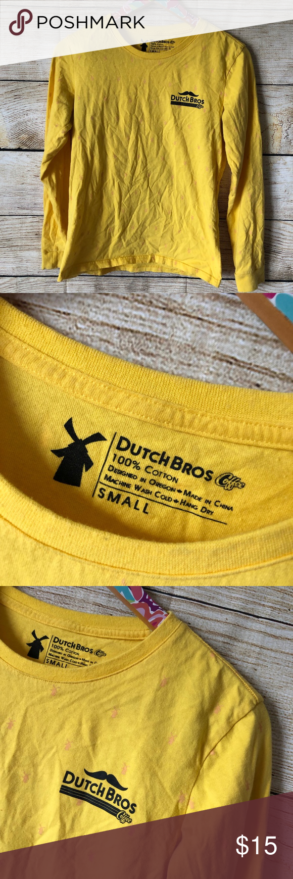 Dutch Bros yellow tee size small // N13 Yellow long sleeve Dutch Bros tee size Small. Yellow with light pink windmills all over. Gently used and in great condition! Bundle with other items for an even deeper discount.// N13 Dutch Bros Tops Tees - Long Sleeve #dutchbros Dutch Bros yellow tee size small // N13 Yellow long sleeve Dutch Bros tee size Small. Yellow with light pink windmills all over. Gently used and in great condition! Bundle with other items for an even deeper discount.// N13 Dutch #dutchbros