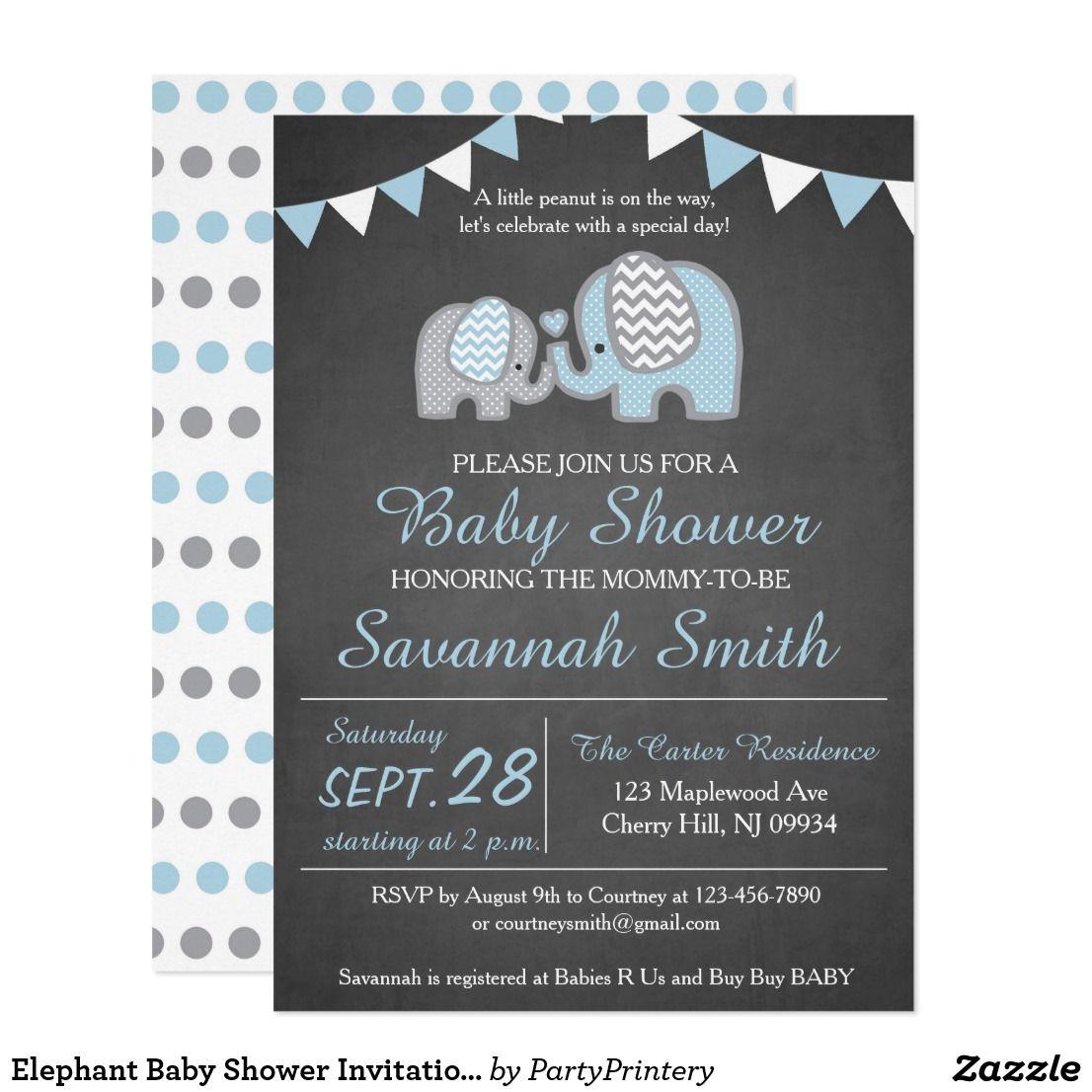 Elephant Baby Shower Invitation Boy - Chalkboard   Baby Shower ...
