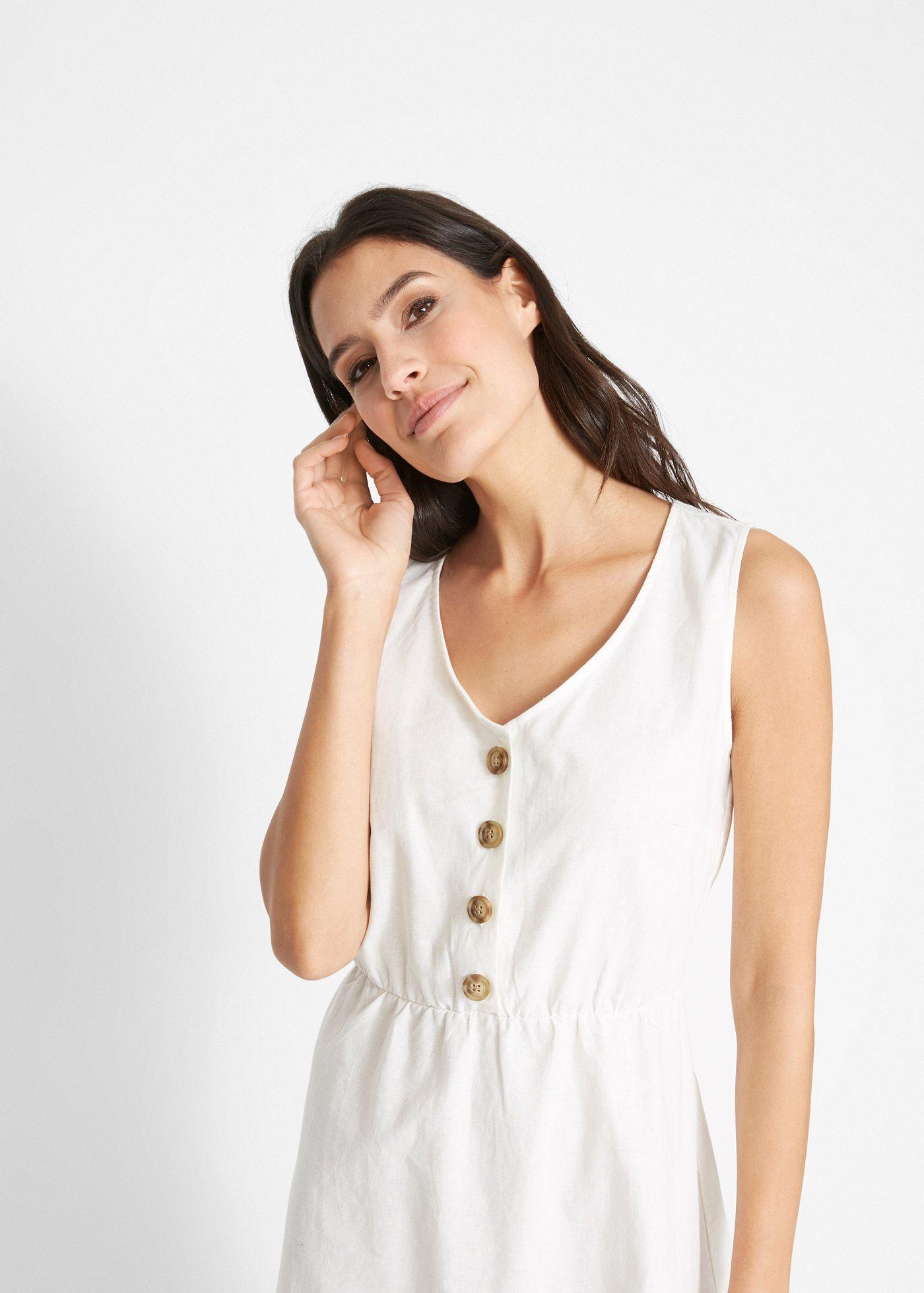 Locker Fallendes Leinenkleid Mit Funktionaler Knopfleiste Und Seitenschlitzen Leinenkleid Kleider Kleidung