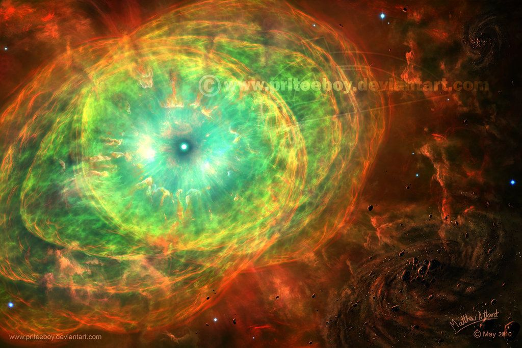 An old painting of the Cat's Eye Nebula, a