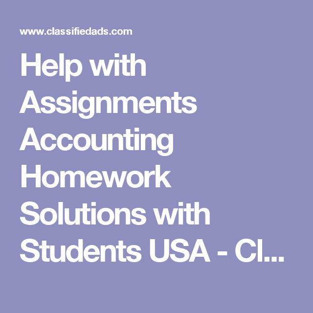 Accounting homework help for college students