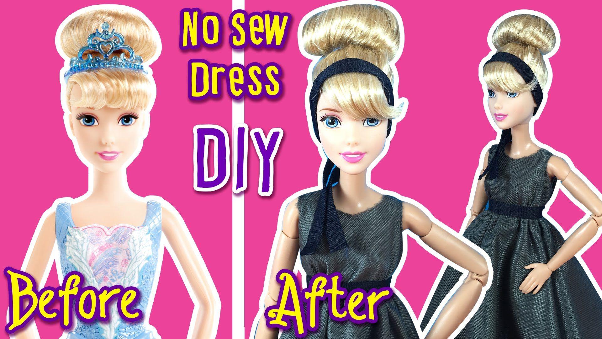 Cinderella Makeover No Sew Dress Doll Clothes Tutorial