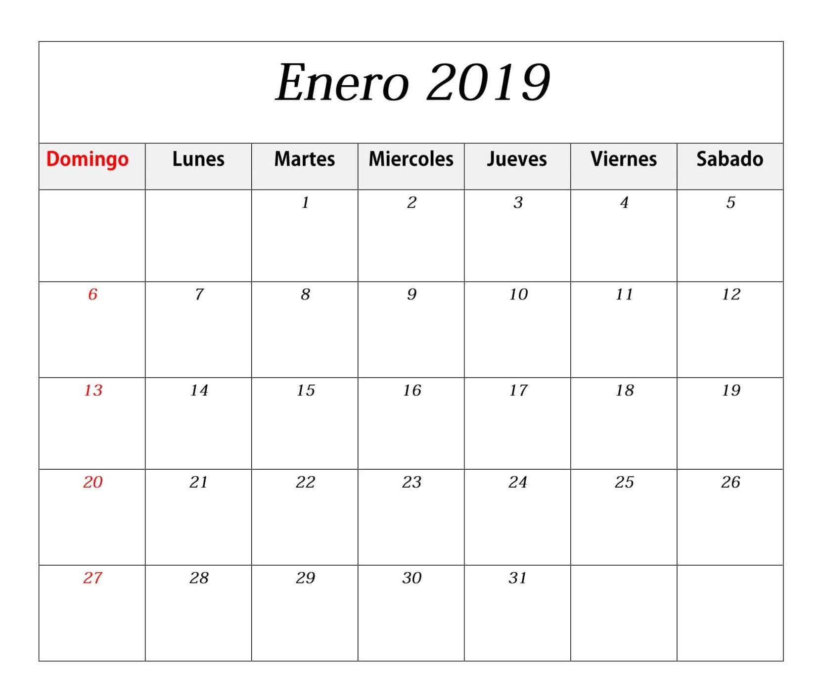 Calendario Enero Con Festivos