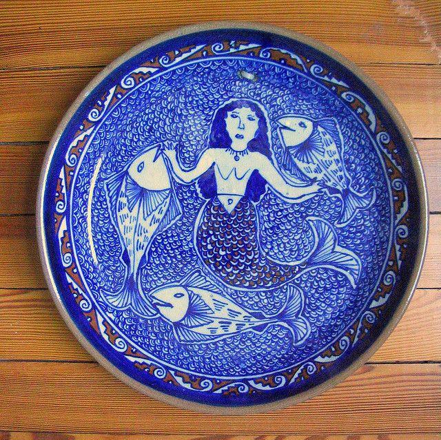 Ceramic plates & Tlanchana Blue Mermaid   Mermaid Porcelain and Pottery