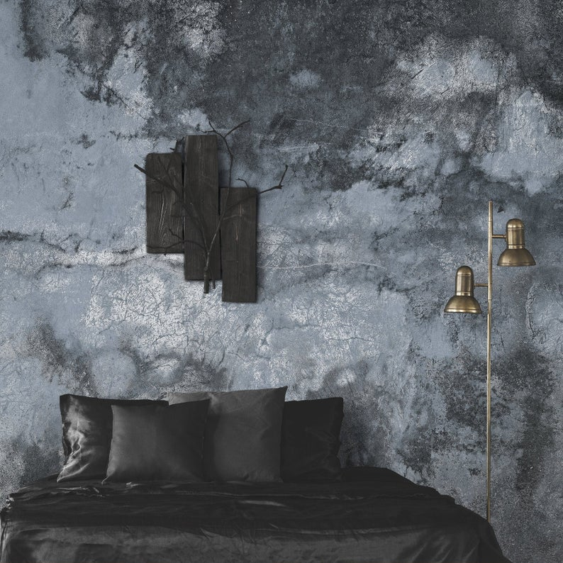 Dark Blue Grunge Wall Mural Peel And Stick Wallpaper Old Cement Wall Temporary Wall Decor Black Self Adhesive Removable Sticker Temporary Wall Decor Cement Walls Distressed Walls