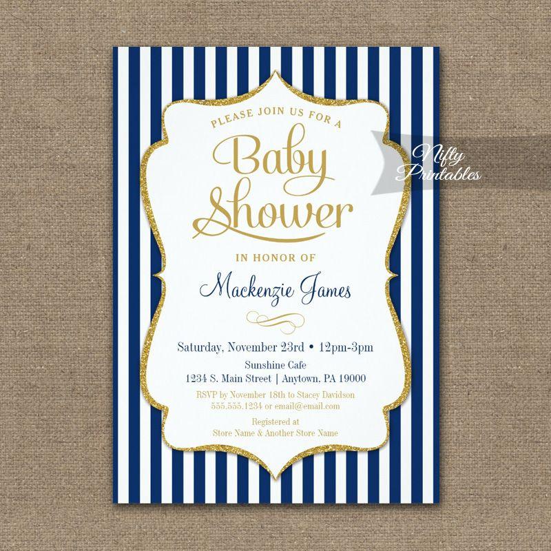 Baby Shower Invitation Navy Blue Gold PRINTED | Blue gold, Shower ...