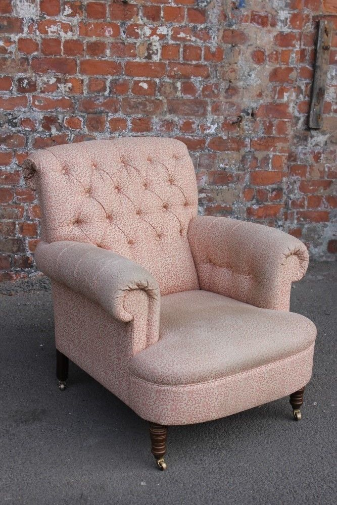 Antique Edwardian Style Upholstered Button Back Easy Chair Large