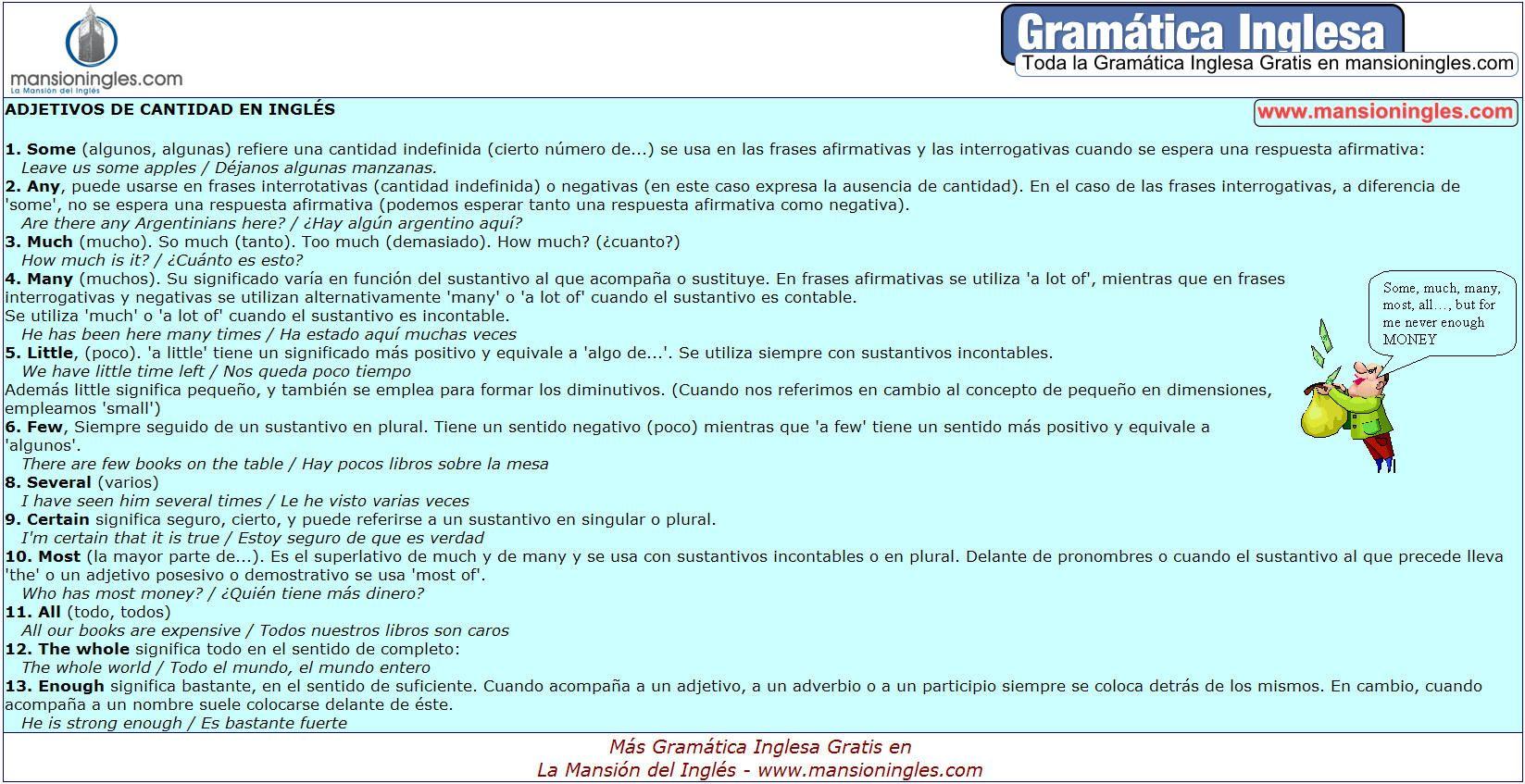Gramática Inglesa Adjetivos De Cantidad En Inglés Gramática Inglesa Gramática Expresiones En Ingles