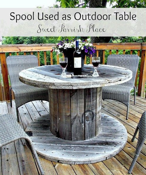 Wooden Spool As Patio Table In 2019 Upcycling Ideas