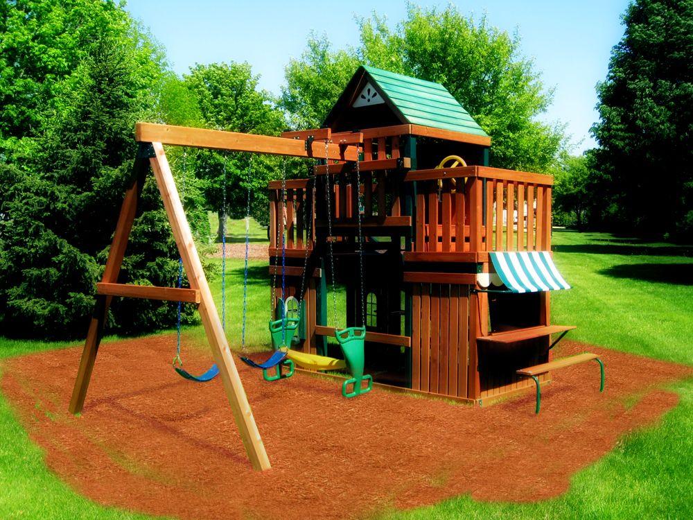 Juneau Wood Complete Play Set Kit Swing N Slide (With