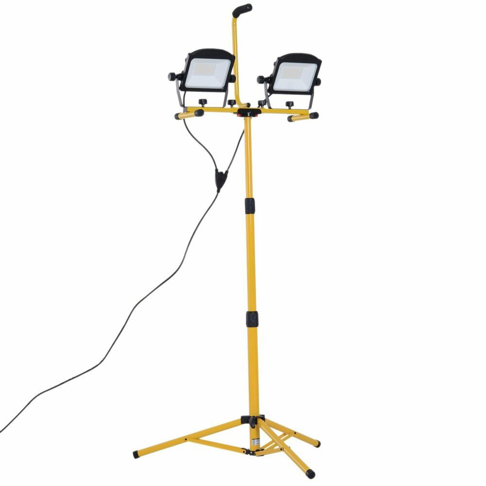 Details About 10000 Lumen Dual Head Weather Resistant Led Work Lights With Tripod Stand Y9n4 With Images Led Work Light Work Lights Weather Resistant