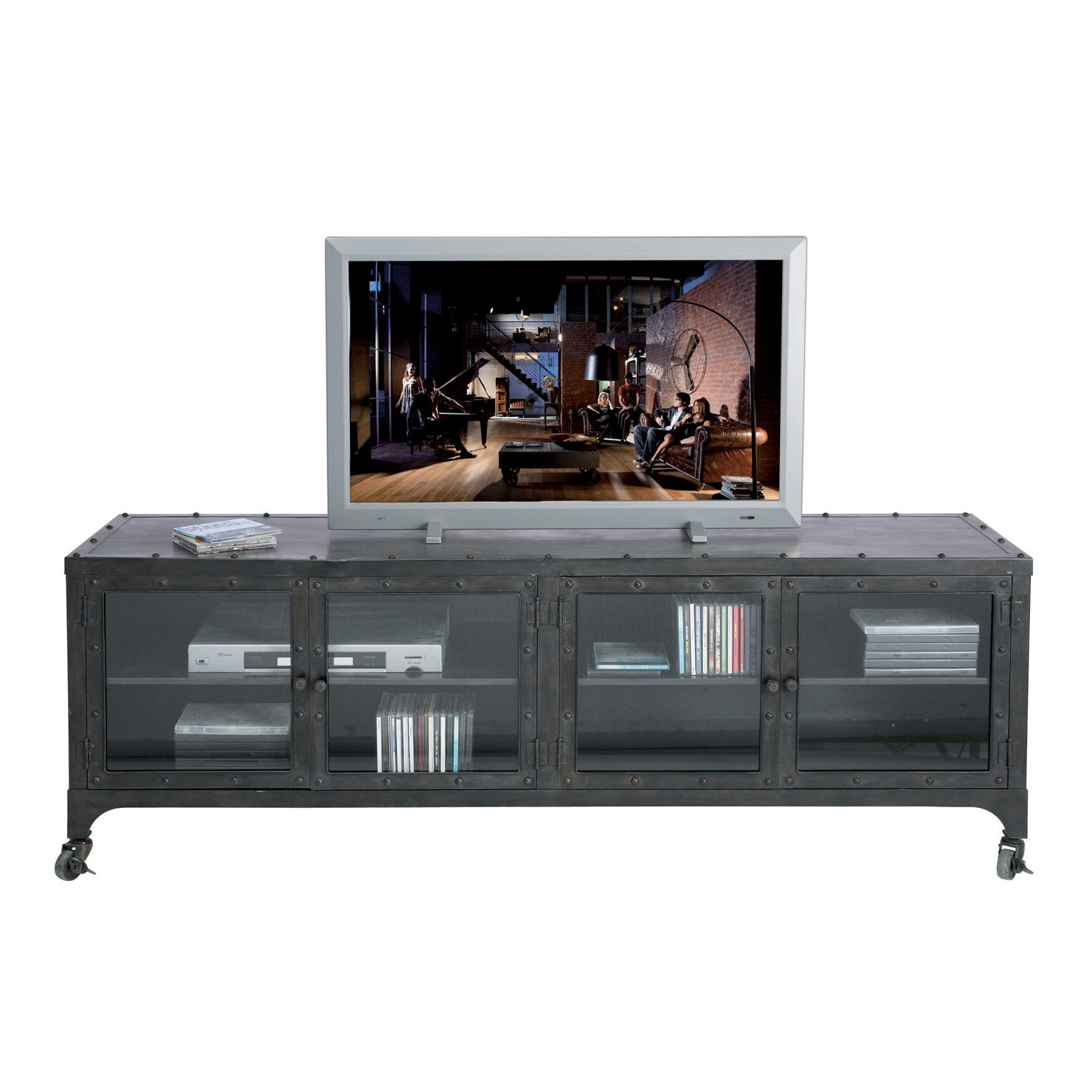 Glaze Tv Meubel.Factory Tv Board Achica Industrial Media Cabinet Kare