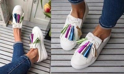Trampki Slip On Z Kolorowymi Chwostami 6744489474 Oficjalne Archiwum Allegro Slip On Sneaker Shoes Sneakers