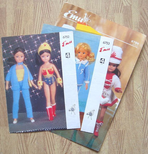 3 x vintage SINDY DOLLS CLOTHES knitting patterns by bekabeka75