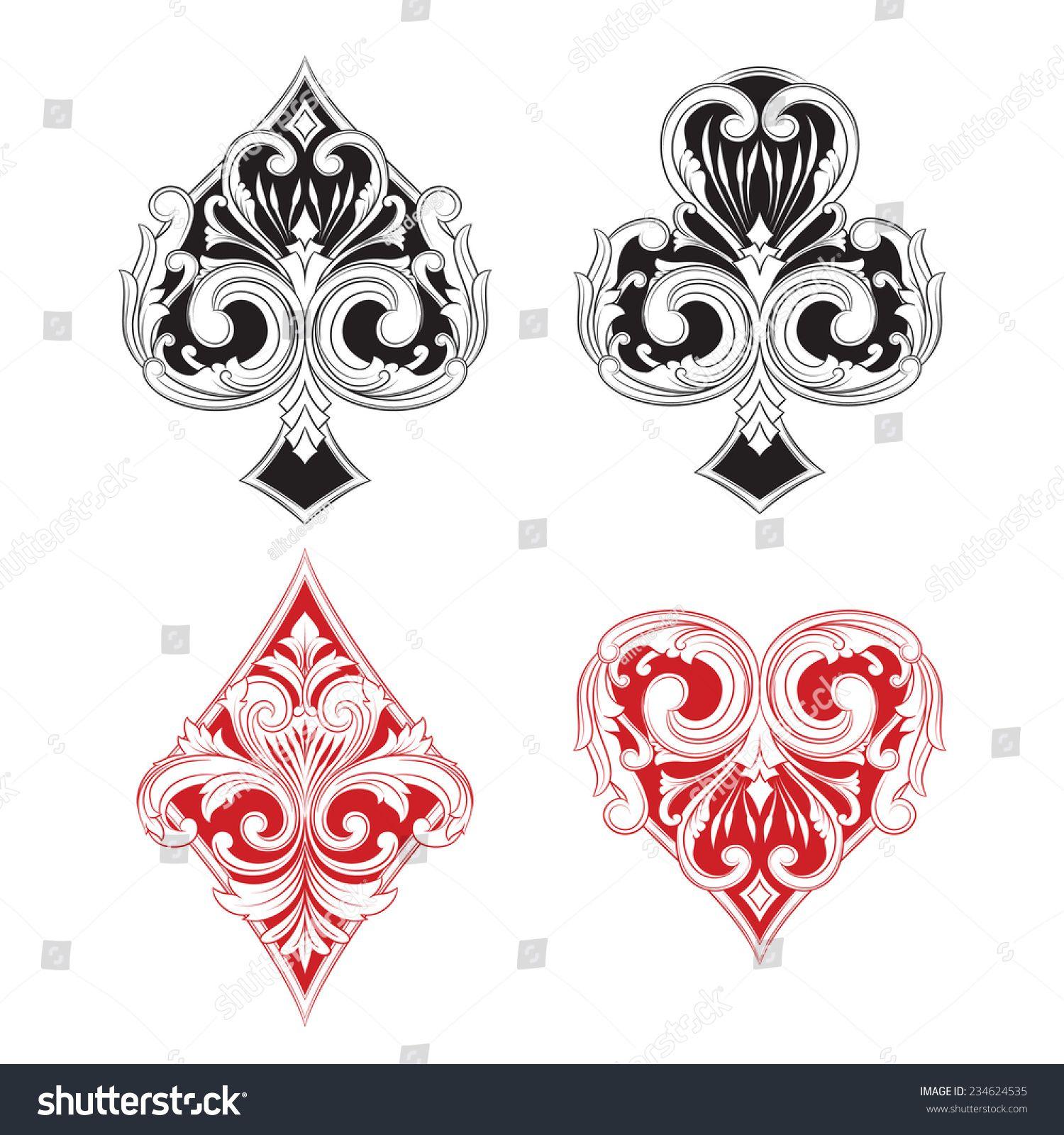 Black and red playing card vintage naipes baralho naipes