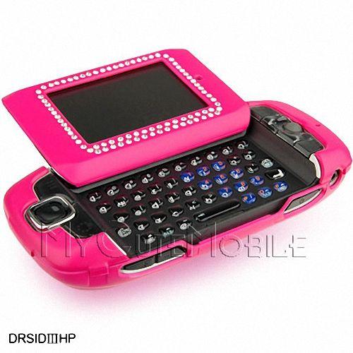 Mobile Sidekick Iii 3 Hot Pink Rubber Diamond Case With Belt Clip