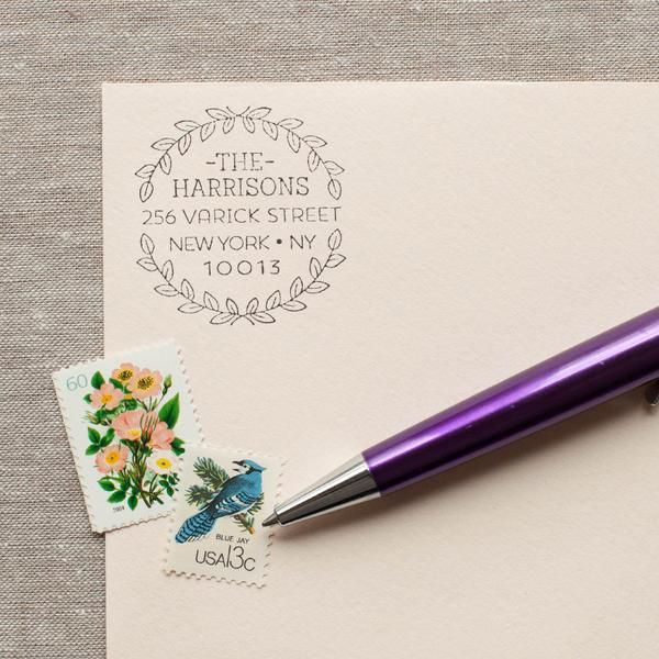 Leaf Wreath - Self-inking Stamp | Self inking stamps, Self ...