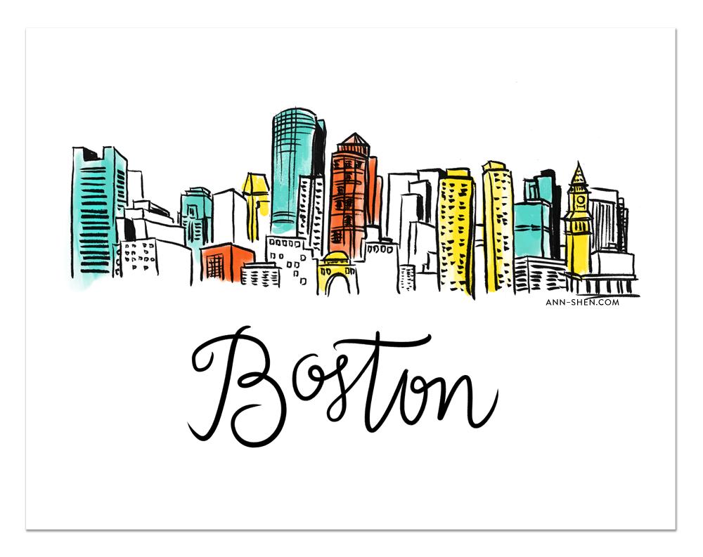 City Love Boston Art Print 11x8 5 Boston Art Print Boston Print Boston Art