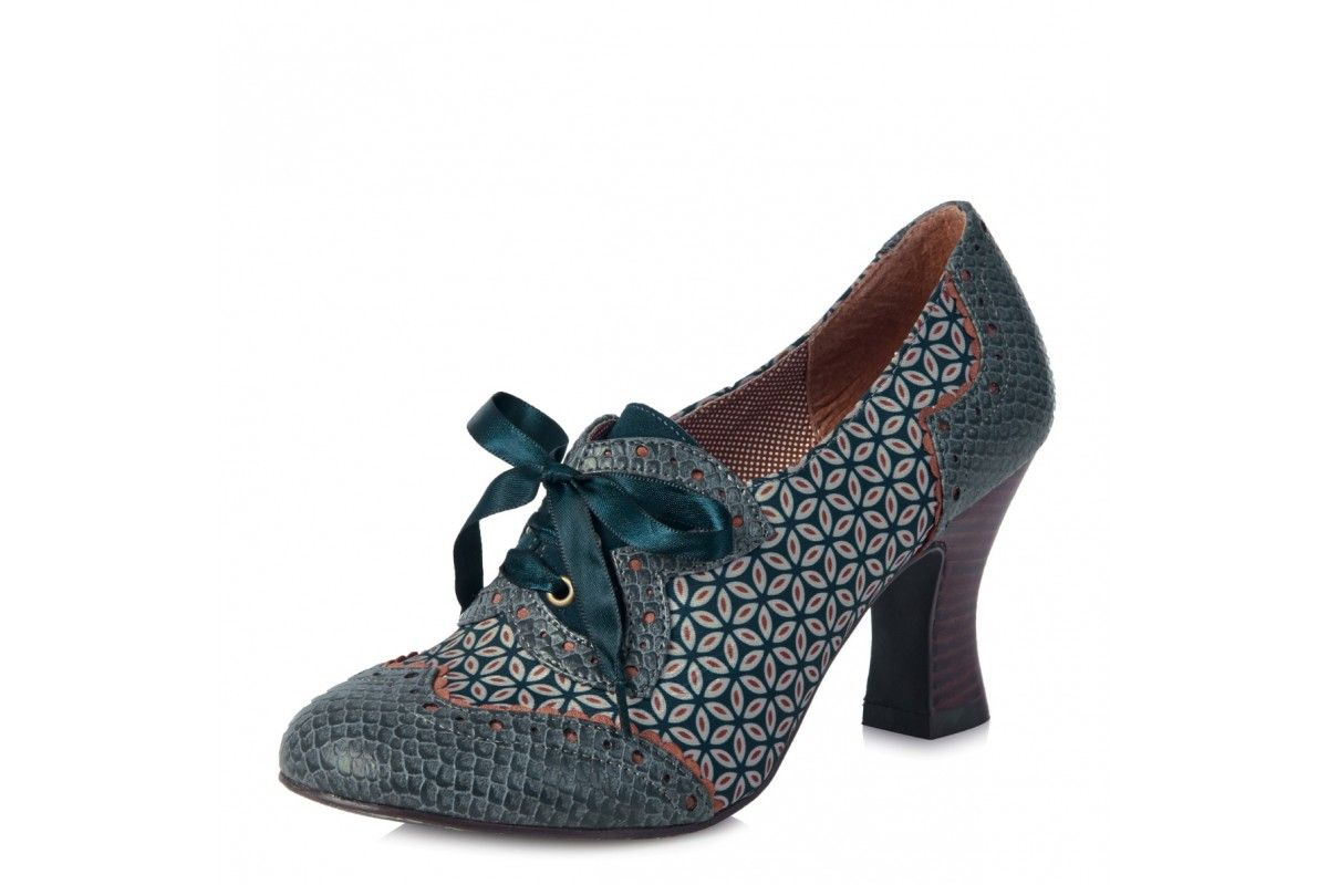 Ruby Shoo Daisy Teal High Heel Brogue Lace Up Shoes