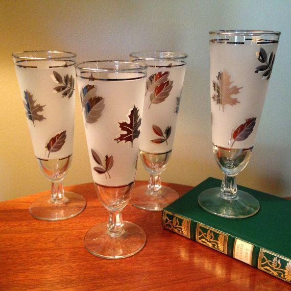 Set of four vintage Libbey silver leaf pilsner by FromTheSeller
