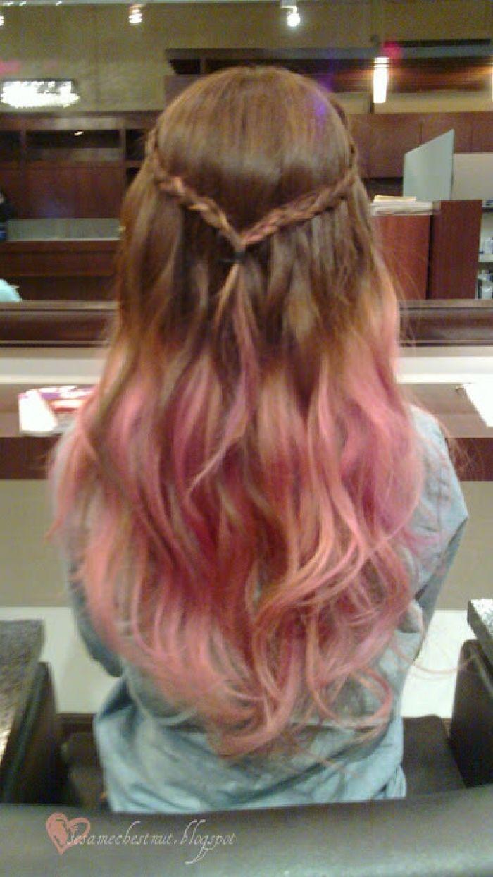 long brown hair with pink dip dye