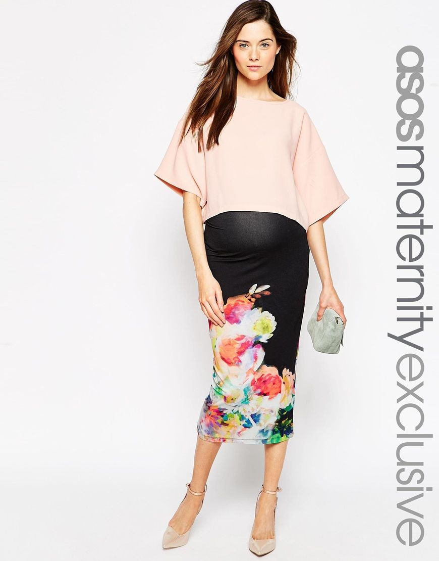Image 1 of asos maternity midi pencil skirt with digital floral maternity skirt by asos maternity super soft touch stretch jersey comfortable high rise stretch waistband slim fit cut closely to the body designed to ombrellifo Gallery